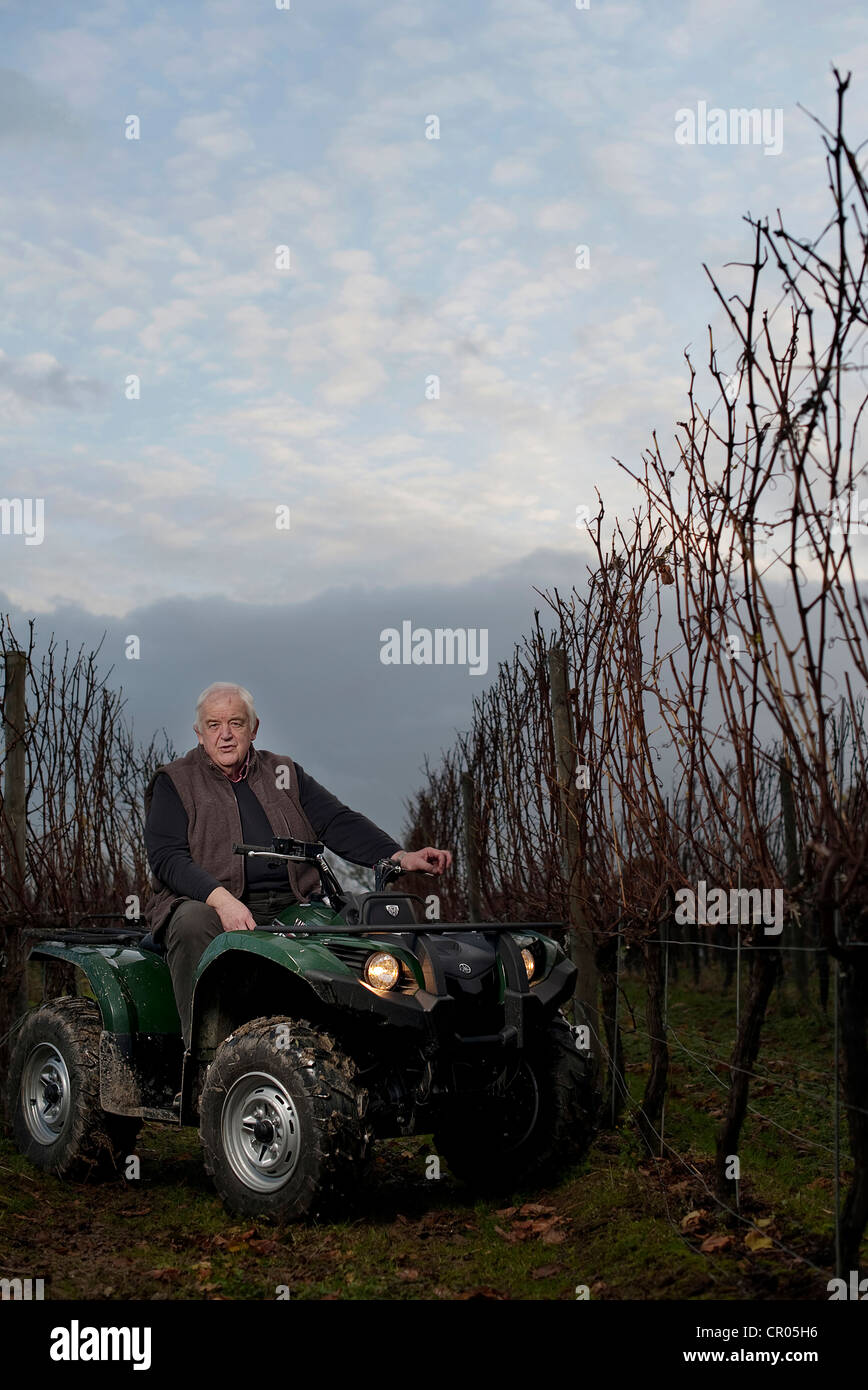 Ridgeview Wine Founder, Director and Winemaker, Mike Roberts MBE in seen at his vineyard in  Sussex Southern England. - Stock Image