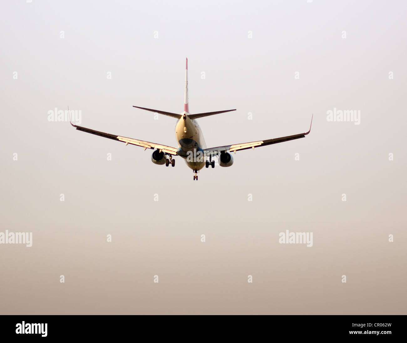 Twin engine jet plane on landing approach, Frankfurt Airport, Frankfurt am Main, Hesse, Germany, Europe - Stock Image