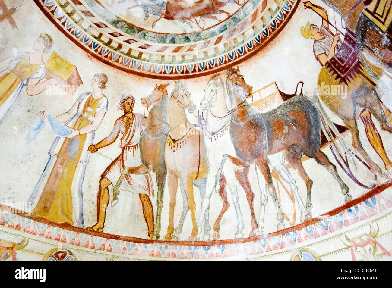 Bulgaria, Kazanlak, Thrace tomb, UNESCO World Heritage, discovered in 1944, the tomb belongs to an important thrace - Stock Image