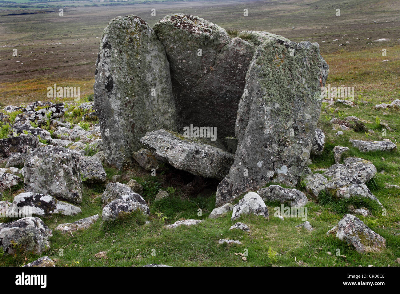 Sweyne's Howes Ancient Burial Chamber on Rhossili Down Gower Wales UK - Stock Image