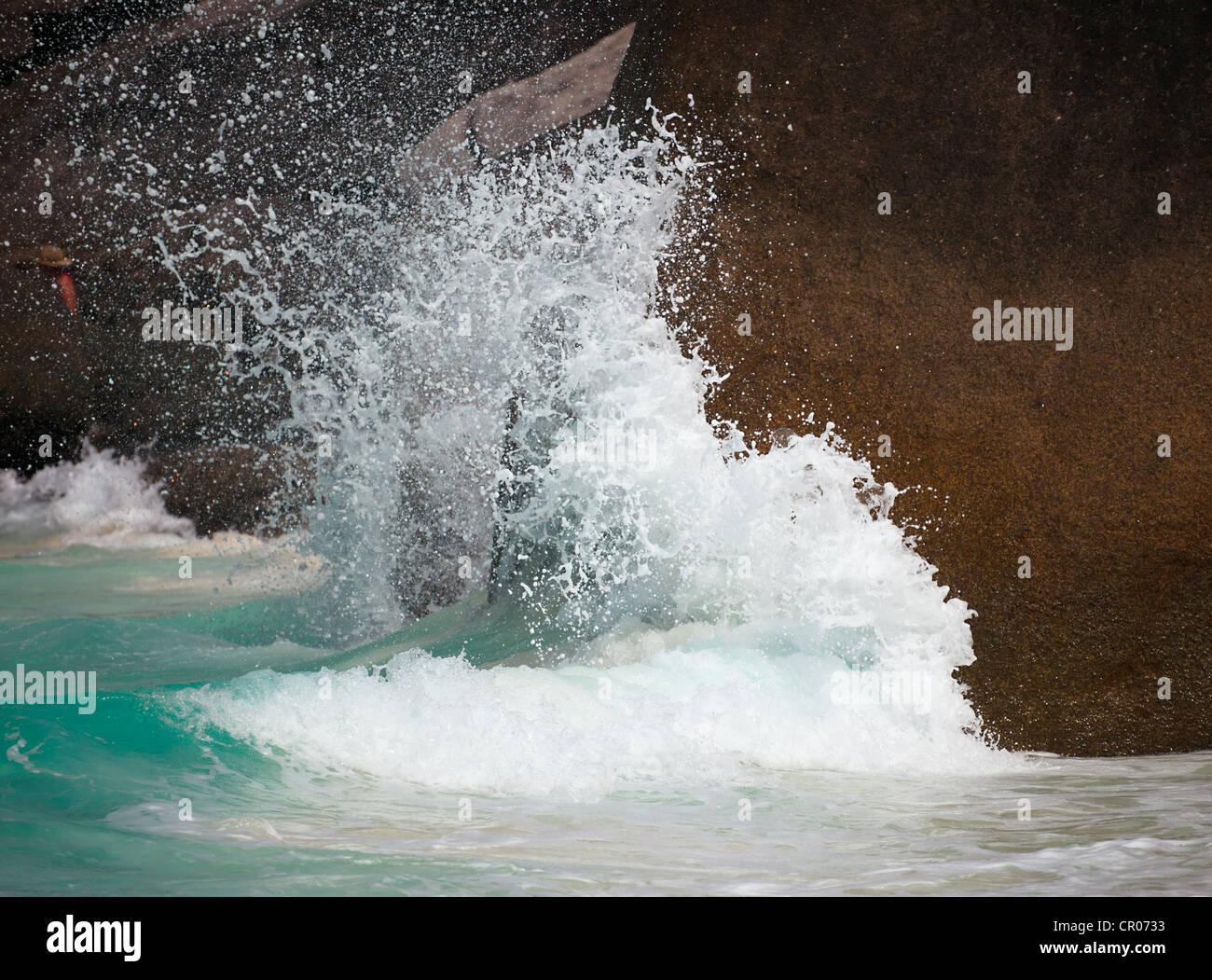 Surf and rock. Andaman sea, Similan islands, Thailand - Stock Image