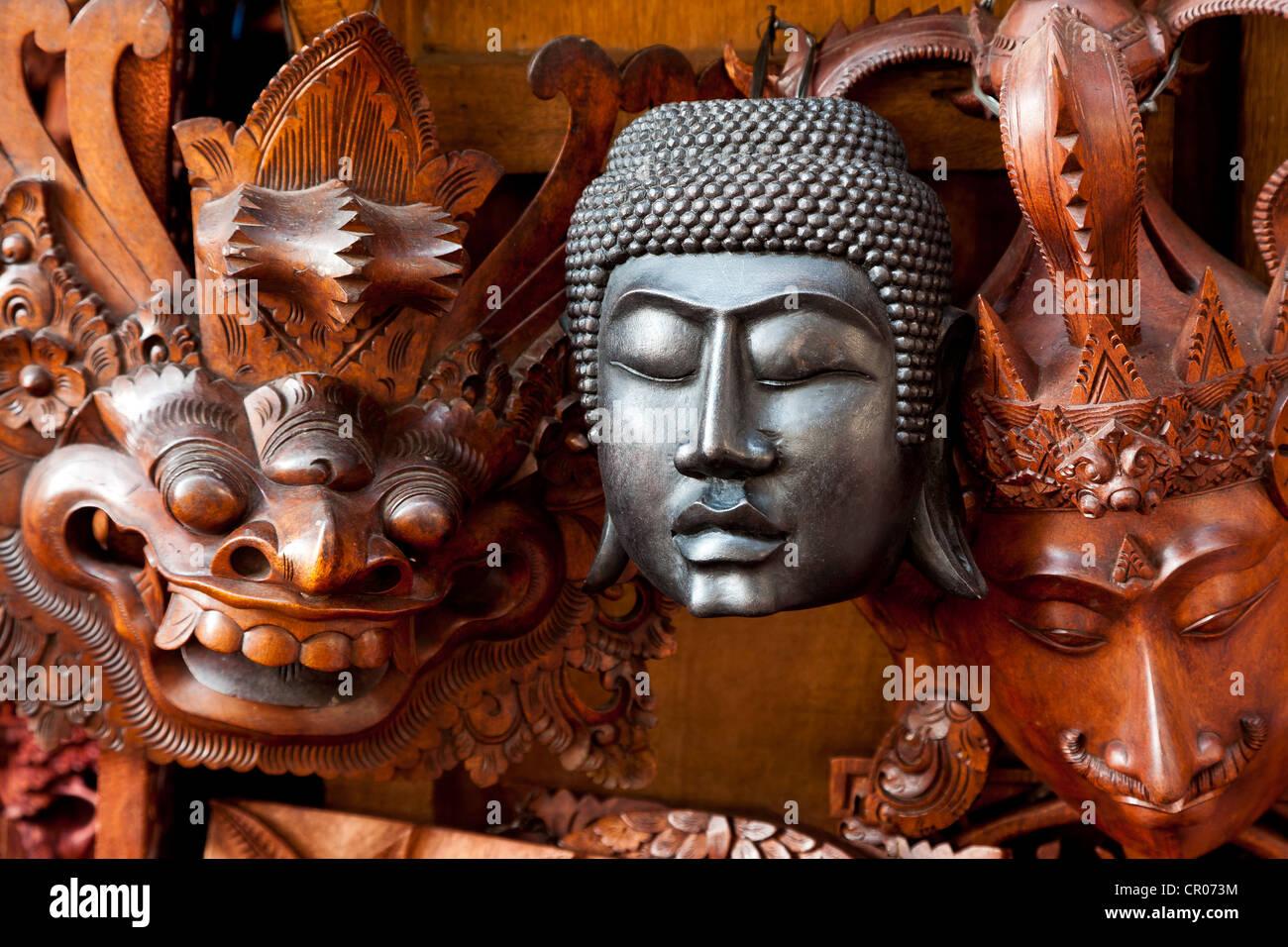 Buddhist and Hindu masks, Ubud, central Bali, Indonesia, Southeast Asia Stock Photo