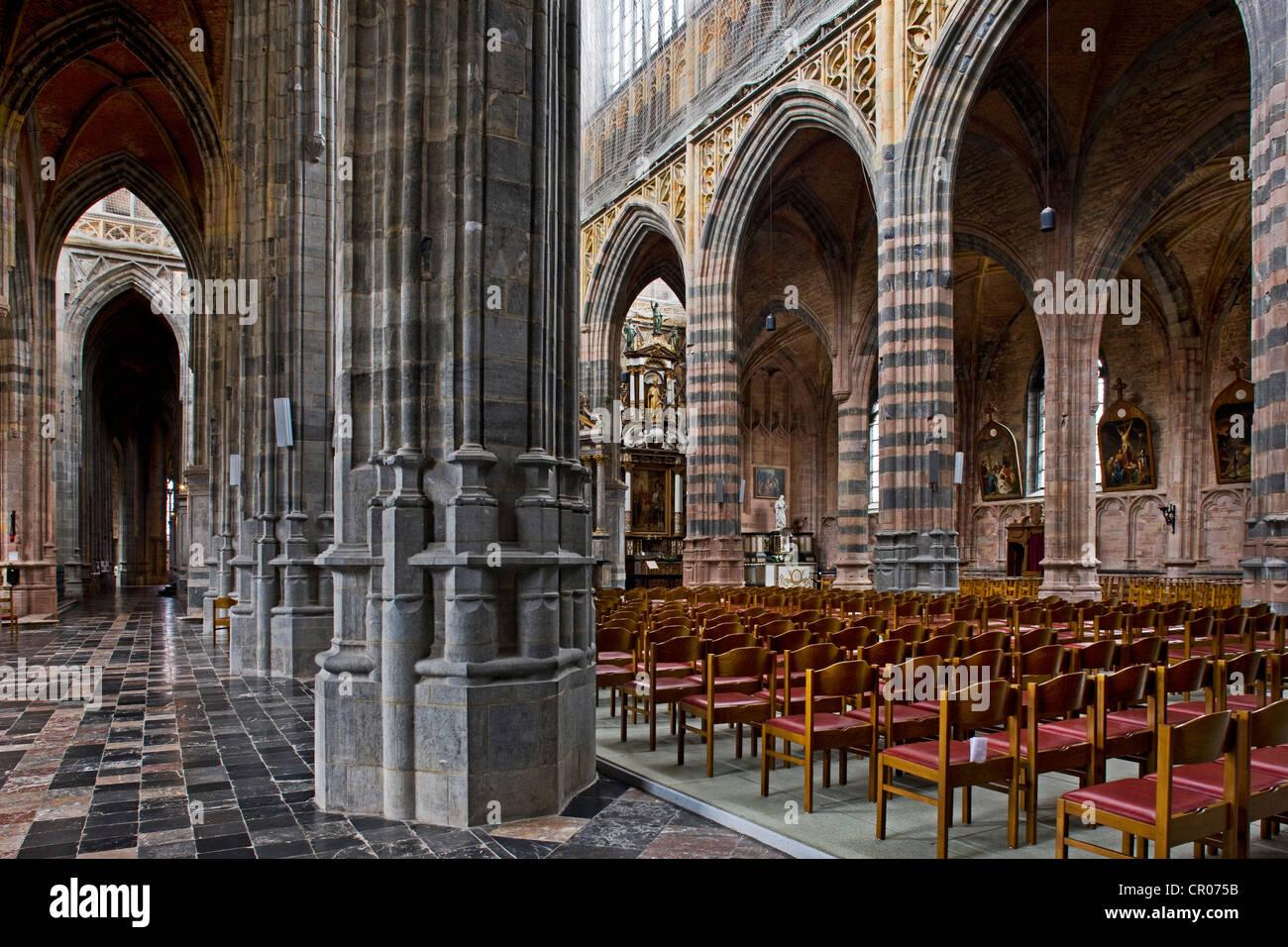 Interior of the basilica of Saint Hubert at Saint-Hubert, Belgian Ardennes, Belgium - Stock Image