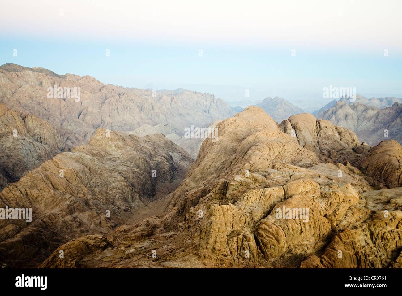 Egypt, Sinai Peninsula, Mount Sinai at sunrise, site listed as World Heritage by the UNESCO - Stock Image