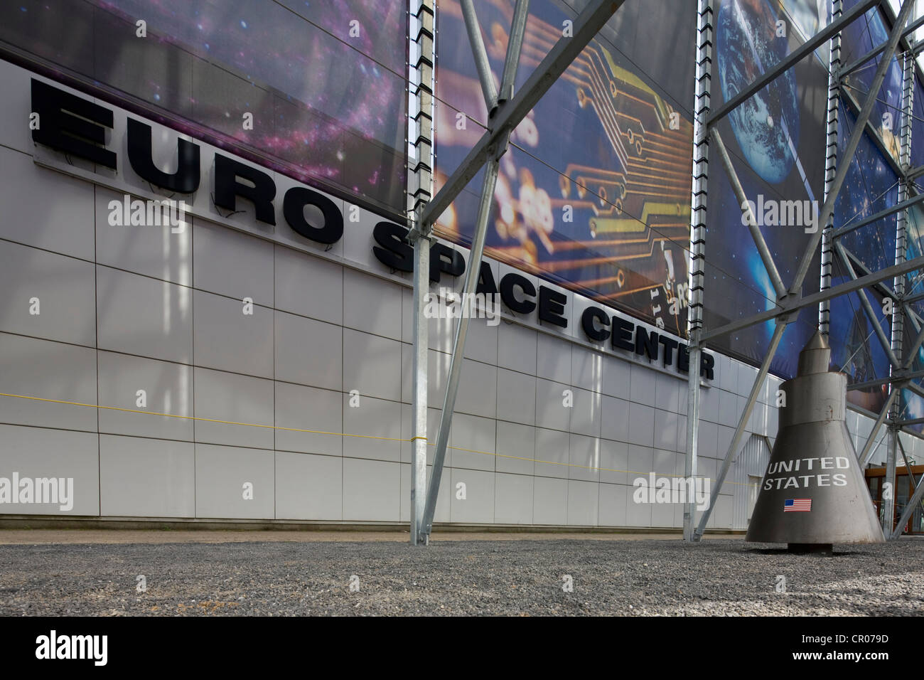 Rockets in the Euro Space Center at Transinne, Luxembourg, Belgian Ardennes, Belgium - Stock Image