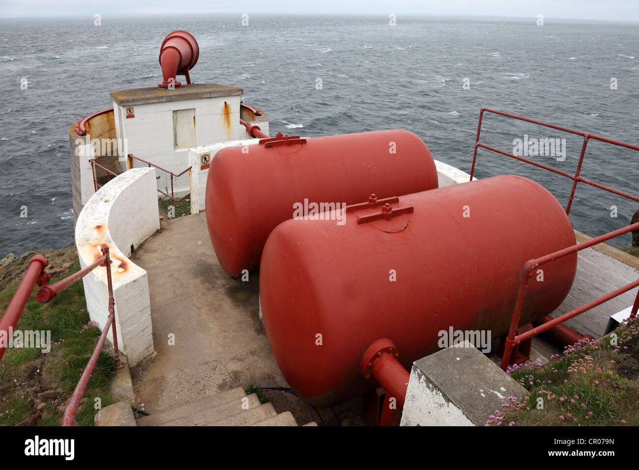 Fog Horn and Compressed Air Tanks on The Mull of Galloway Lighthouse Scotland UK - Stock Image