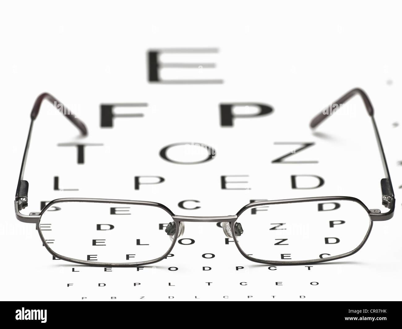 Glasses On The Snellen Eye Chart For Eye Sight Testinghealth Care