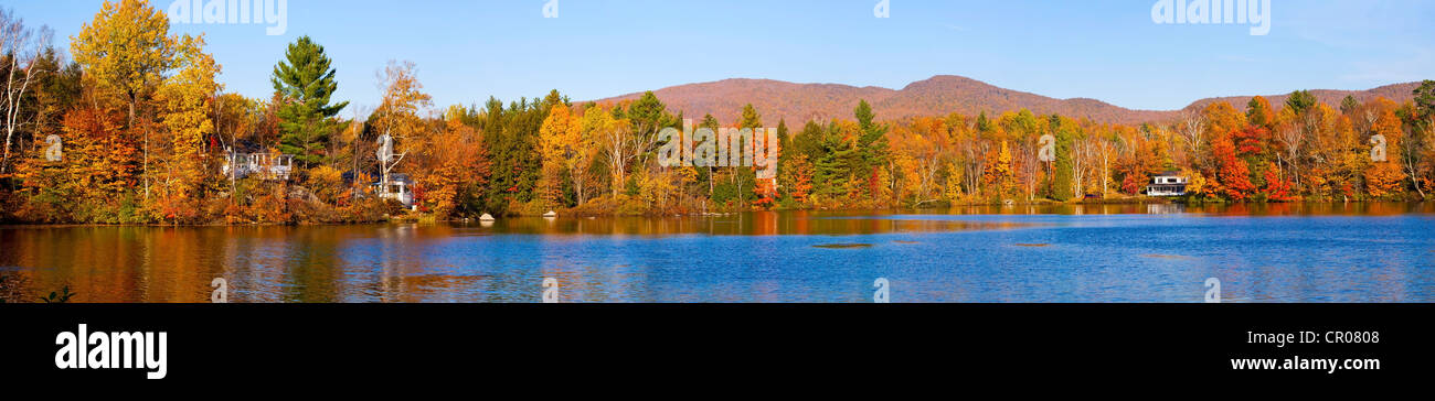Sallys Pond in autumn, West Bolton, Quebec, Canada - Stock Image
