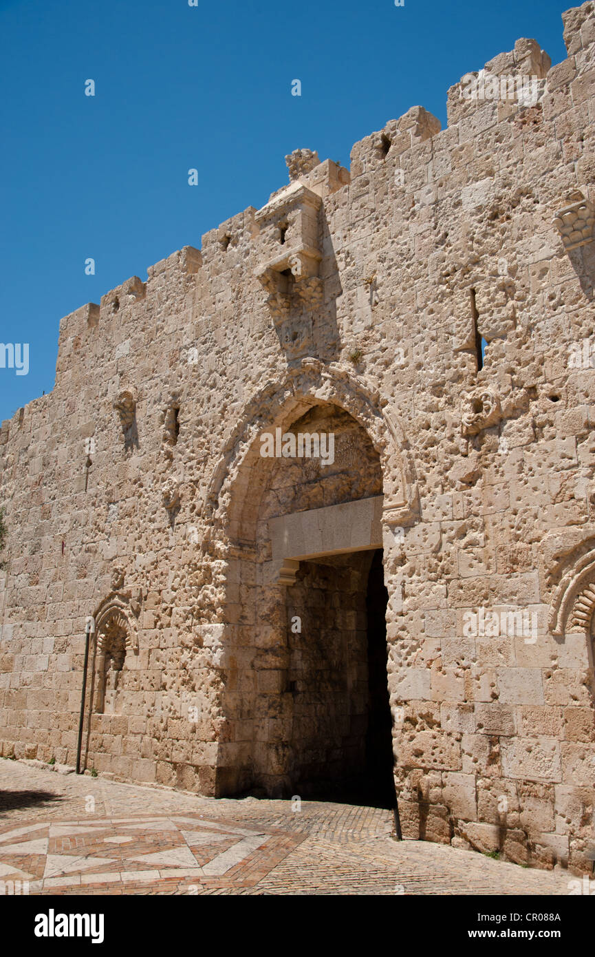 Zion Gate in the southern wall of Jerusalem's Old City is scarred by bullet marks from the Six Day War in 1967. - Stock Image