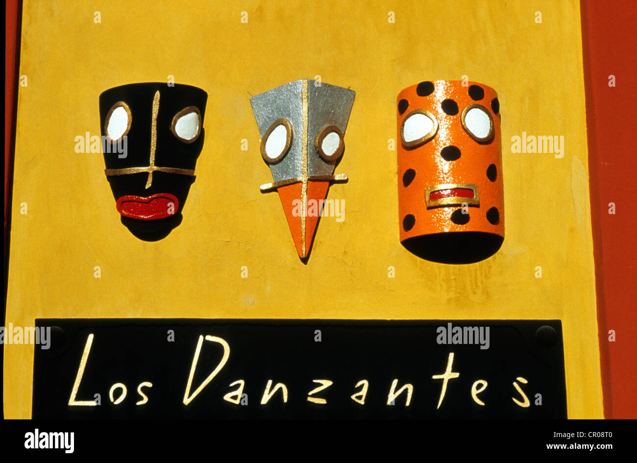Mexico, Oaxaca State, Oaxaca city, art gallery figuring masks - Stock Image