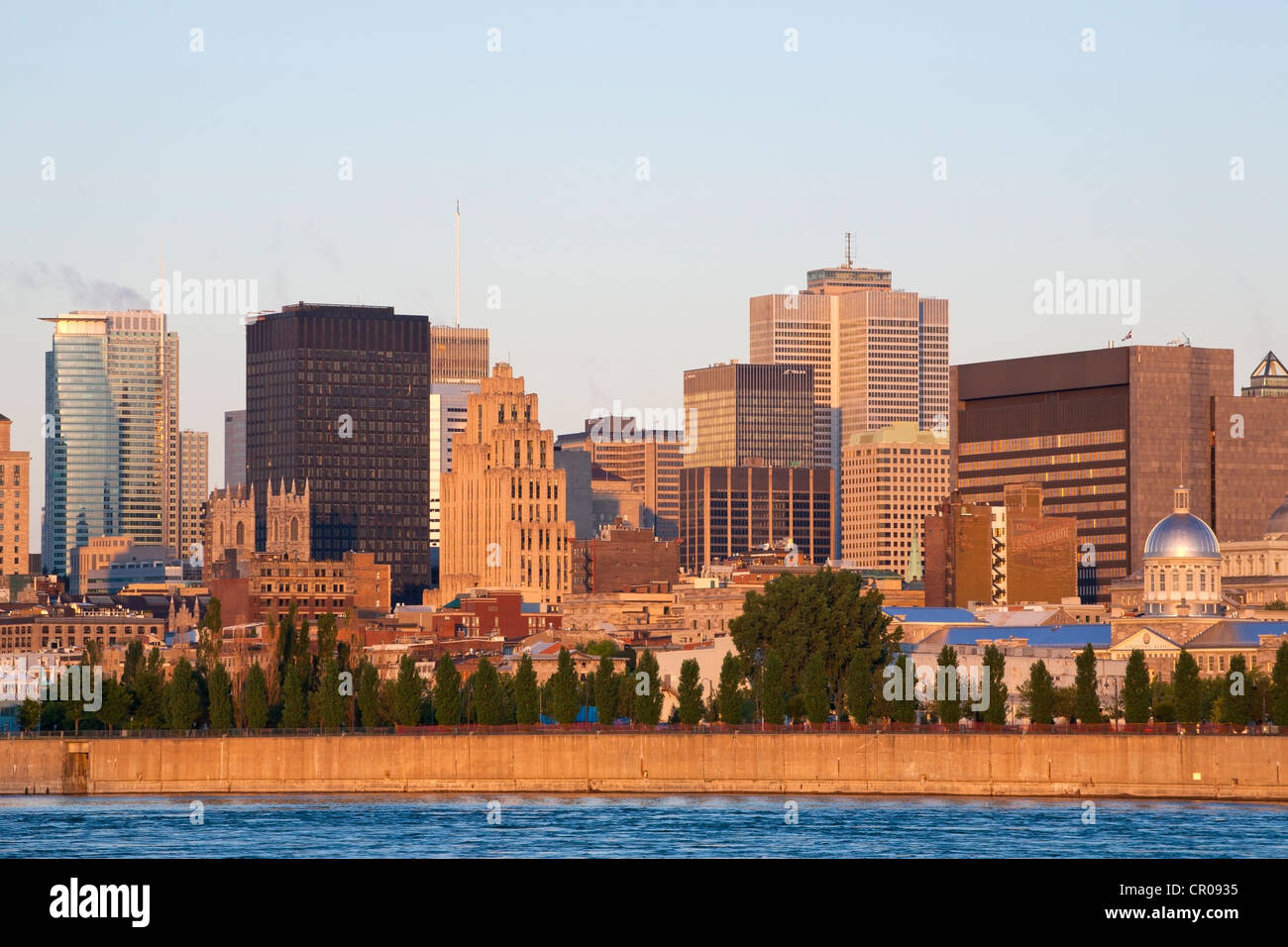 Skyline as seen from Parc Jean Drapeau, Montreal, Quebec, Canada Stock Photo