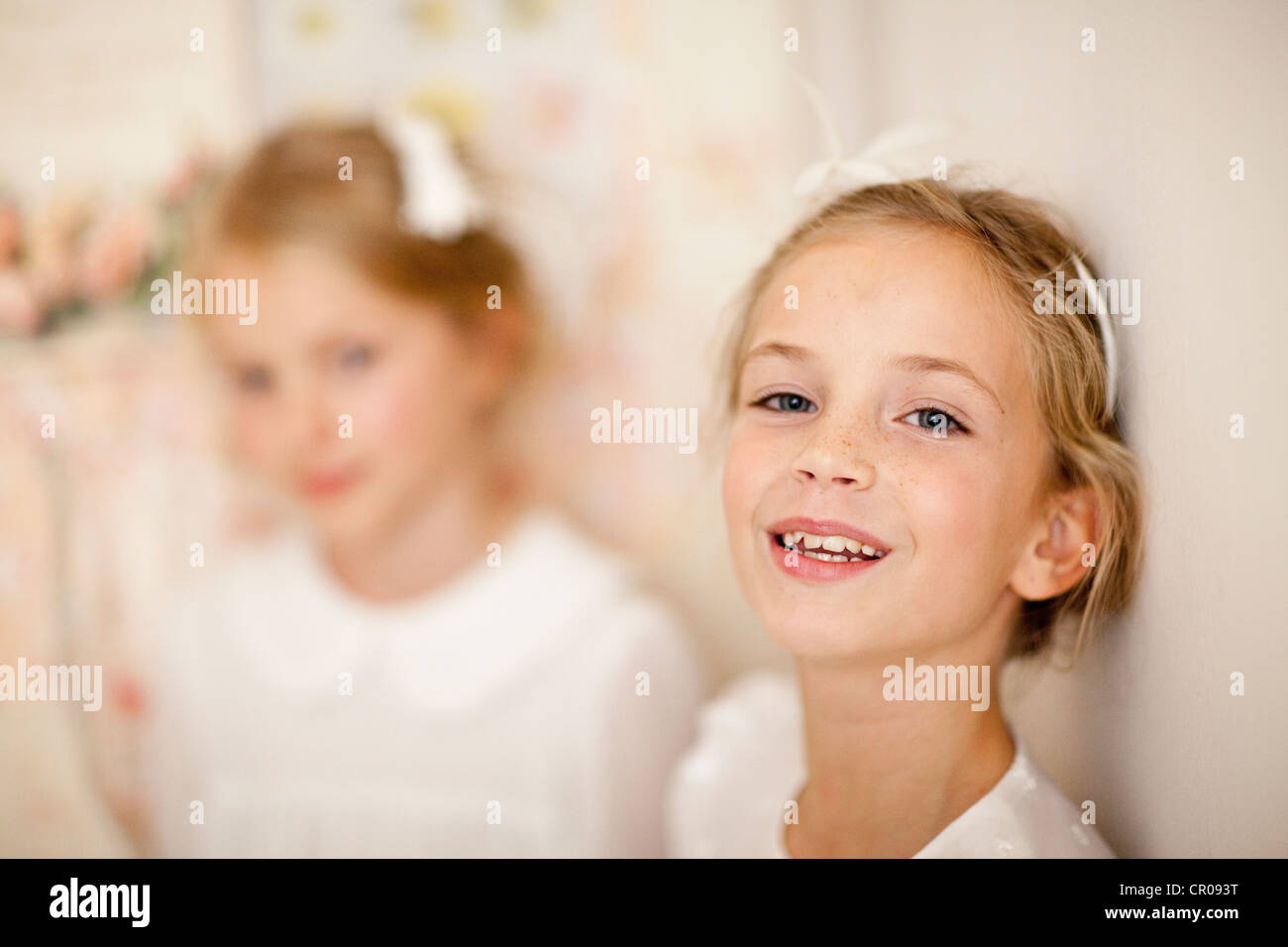 Close up of girls smiling face - Stock Image