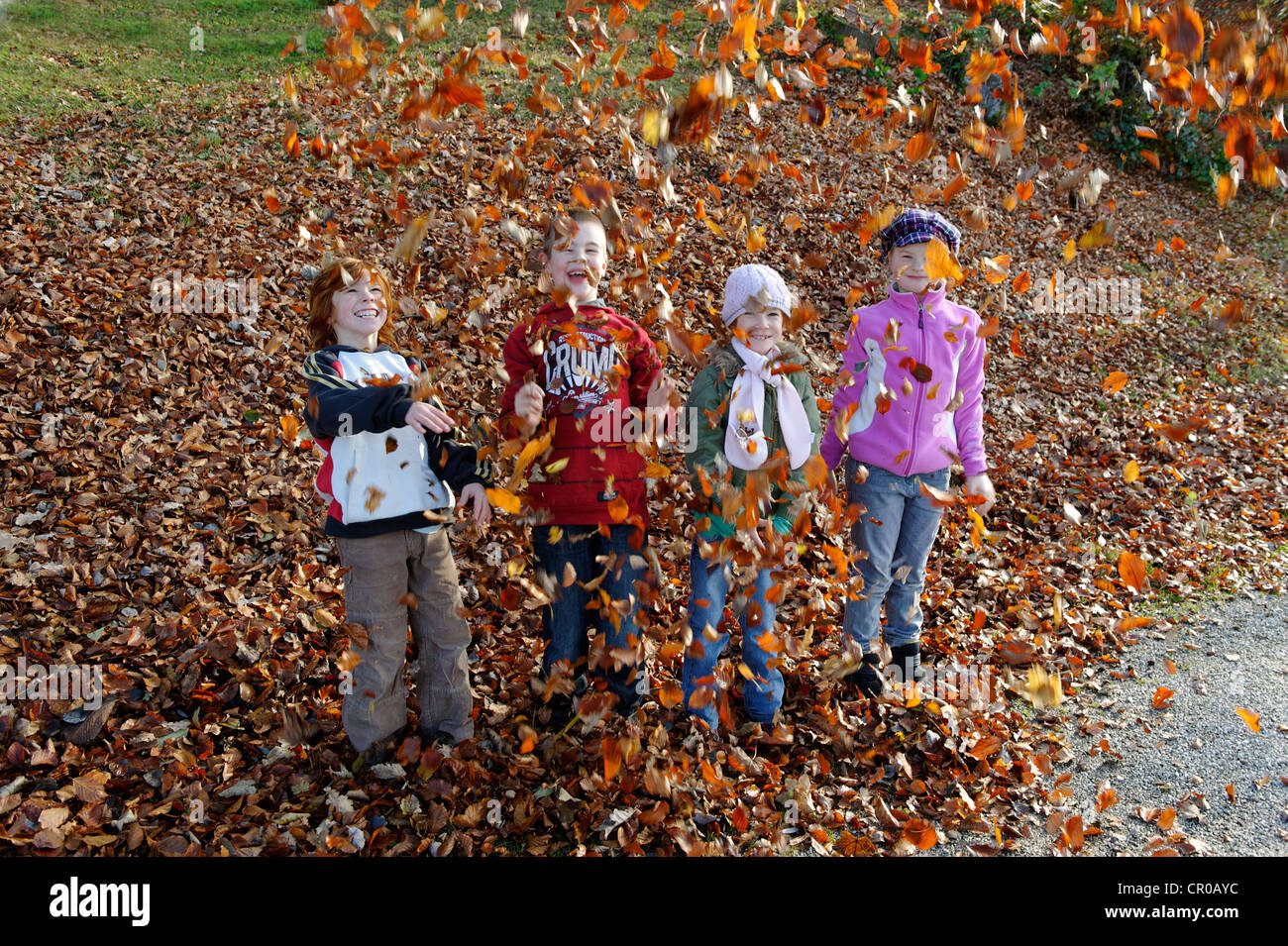 Children playing with leaves in autumn - Stock Image