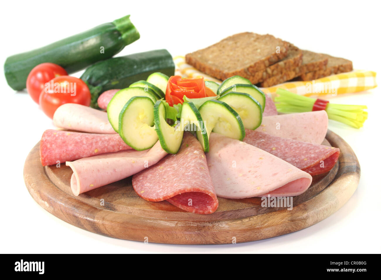 plate of fresh cold meats and vegetables Stock Photo