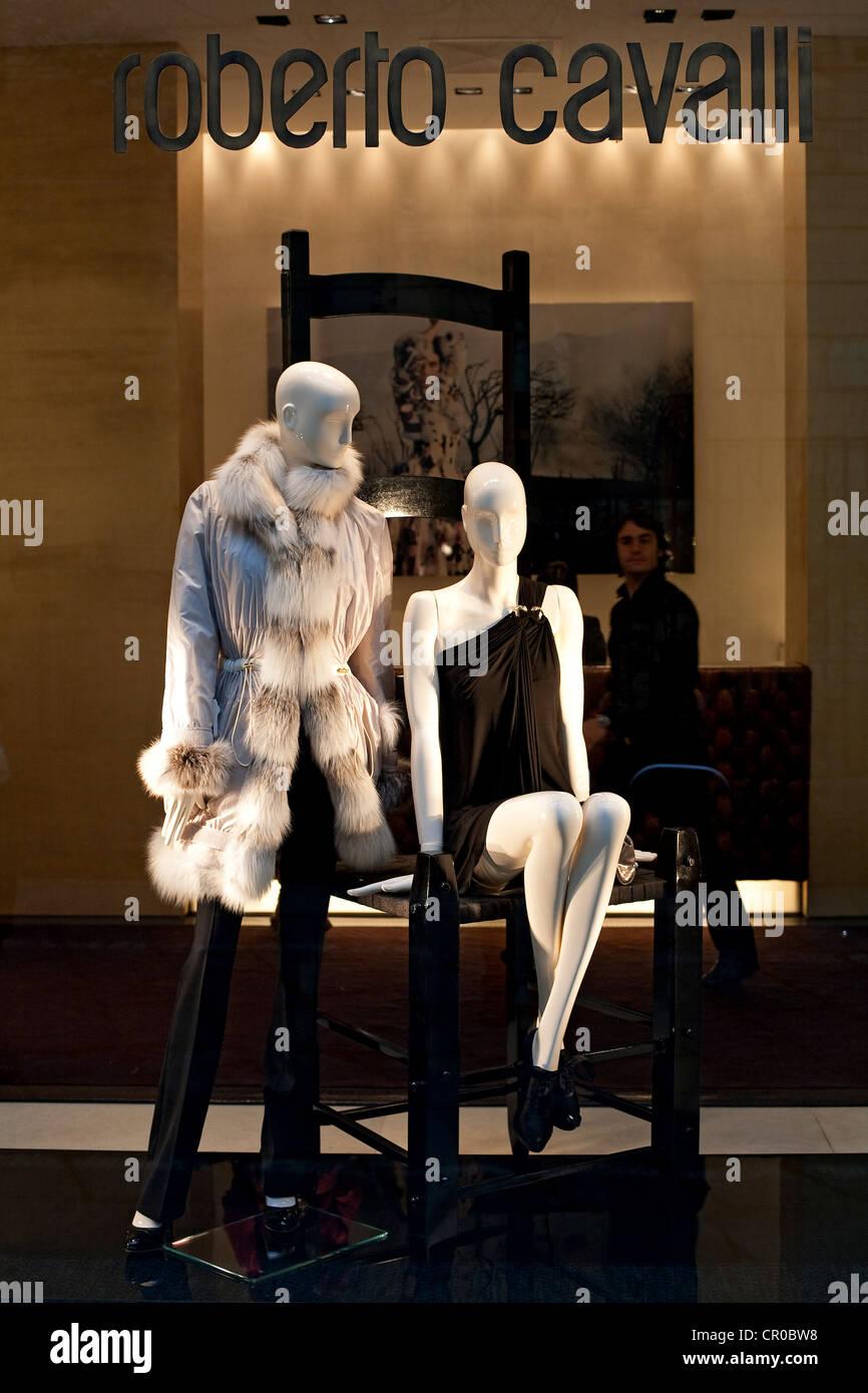 Italy, Lombardy, Milan, Fashion Quadrilateral, Via Gesu', shop of the Italien dress designer Roberto Cavalli Stock Photo