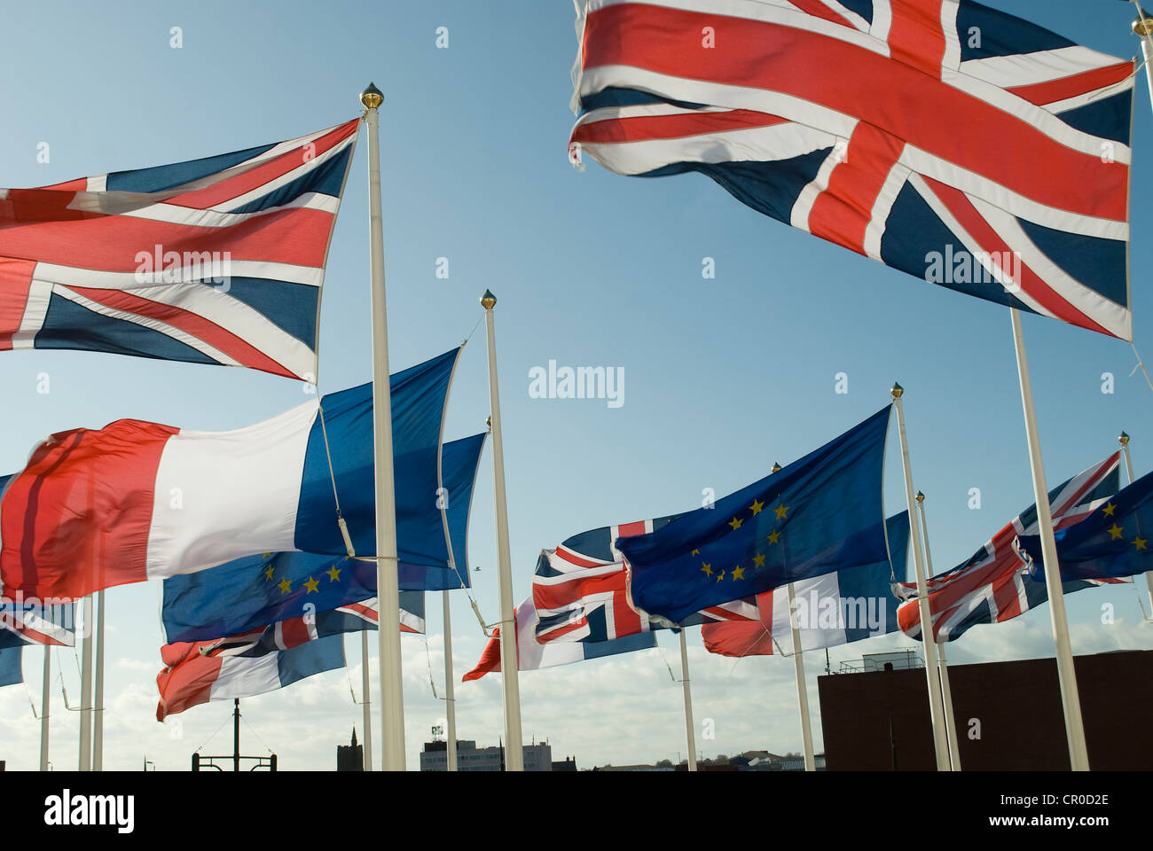 Union Jack and European Union flags flying on numerous flag poles Stock Photo