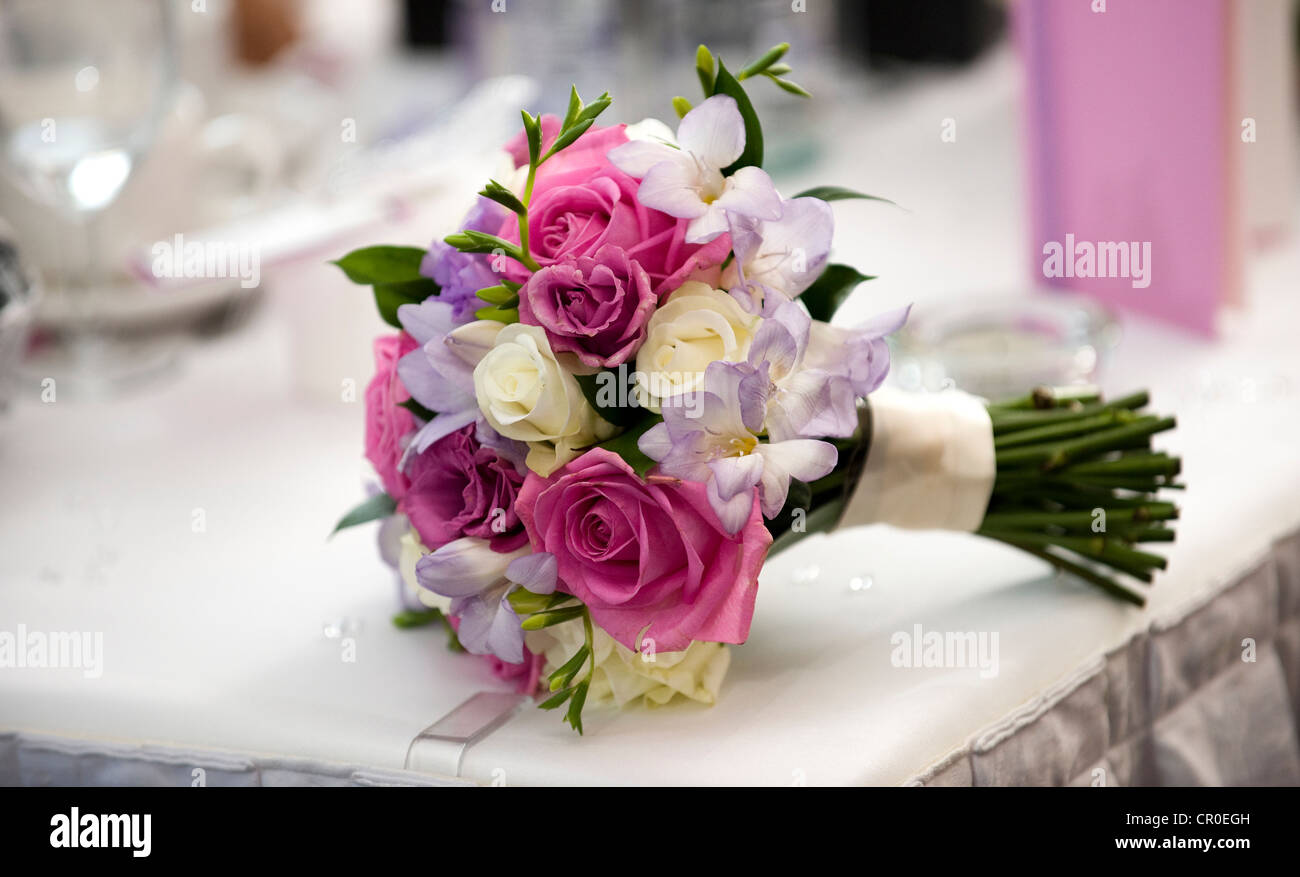 Bride Wedding Bouquet On Top Table With Pink And Cream Roses Stock