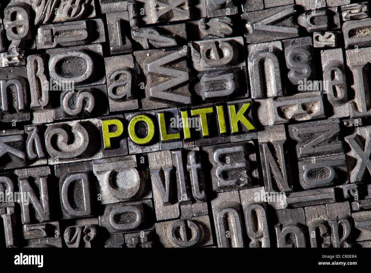 Old lead letters forming the word Politik, German for politics - Stock Image