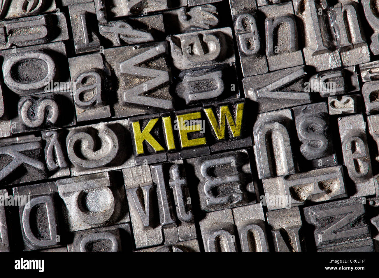Old lead letters forming the word Kiew, German for Kiev - Stock Image