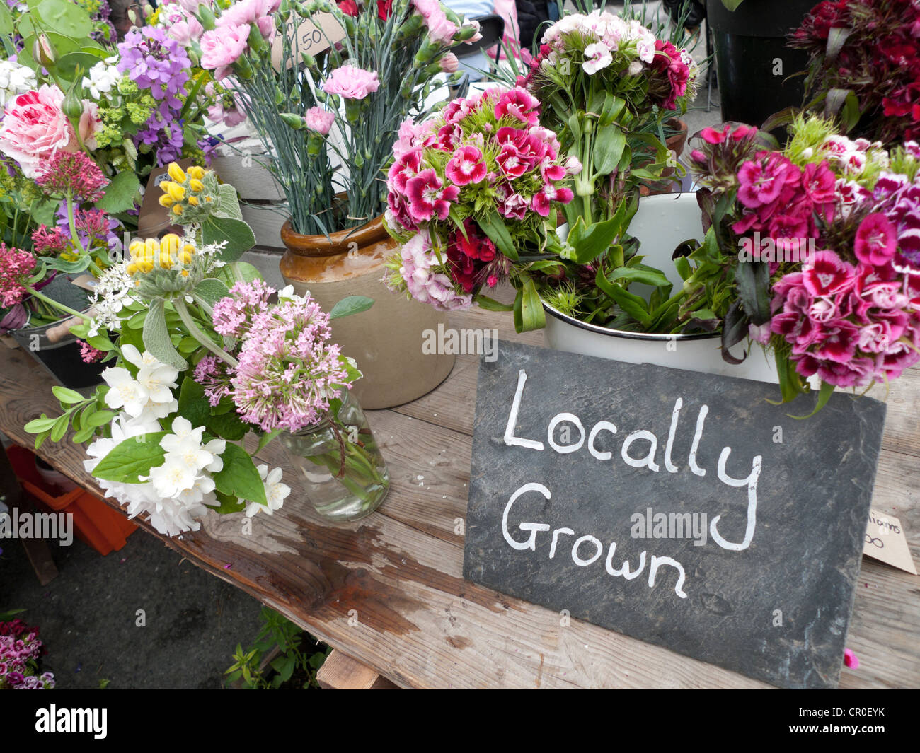 Locally grown sign at cut flower stall Hay on Wye during Hay Festival Wales  KATHY DEWITT - Stock Image