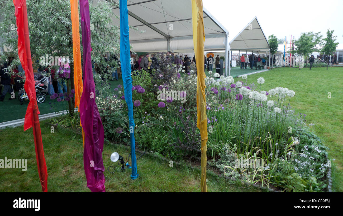 Drenched banners on a soggy Hay Festival site 2012 - Stock Image