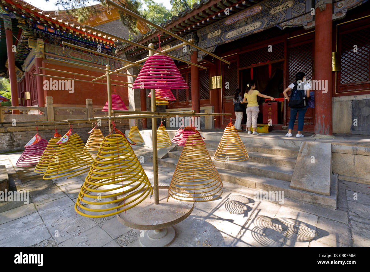 Incense coils hang at the Tanzhe Buddhist temple 45 km to the west of  Beijing, People's Republic of China. - Stock Image