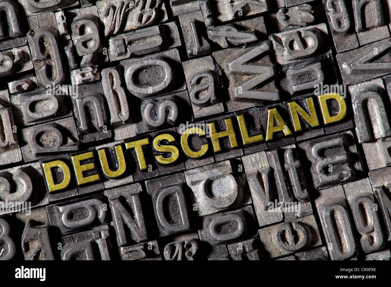 The word 'Deutschland', German for 'Germany', made of old lead type - Stock Image
