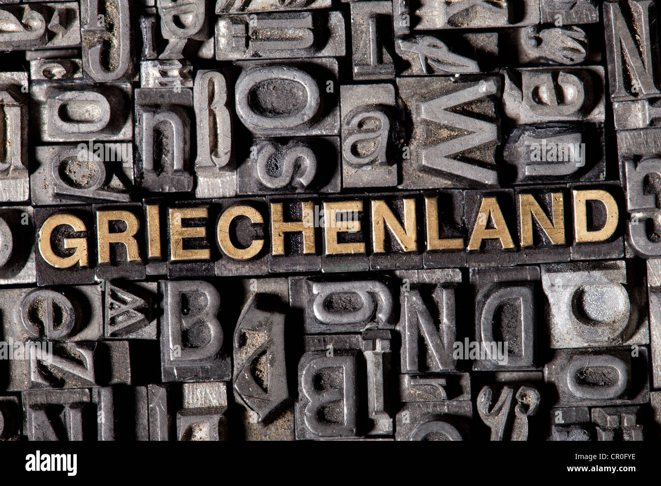 The word 'Griechenland', German for 'Greece', made of old lead type - Stock Image