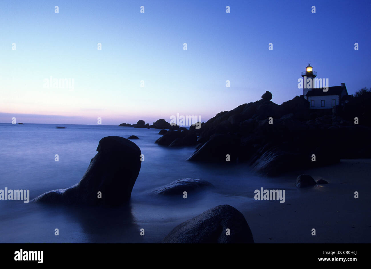 France, Finistere, Brignogan, Beg Pol Lighthouse - Stock Image