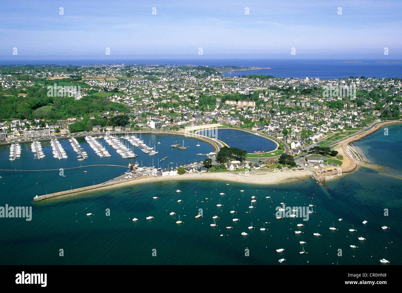 France, Cotes d'Armor, Cote de Granit Rose (the Pink Granite coast), Perros Guirec, the harbour (aerial view) Stock Photo