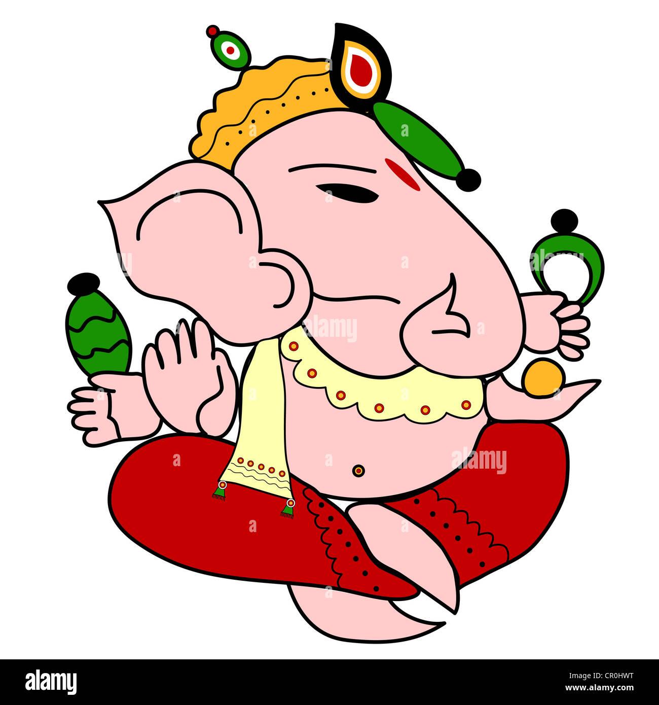 Indian God Ganesha illustration Stock Photo