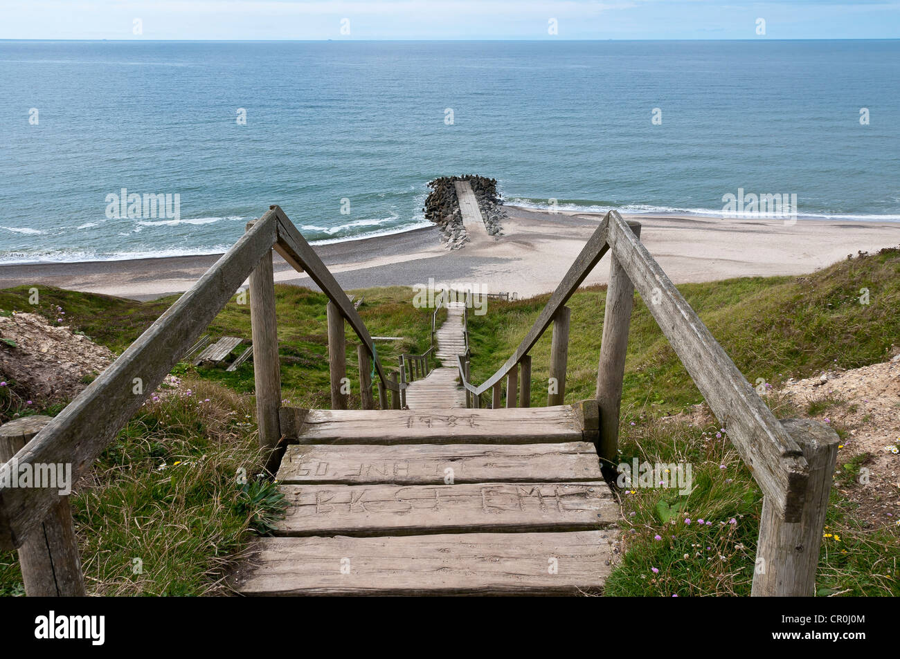 Wooden Stairs To The Beach On The Coast Of Bovbjerg ...