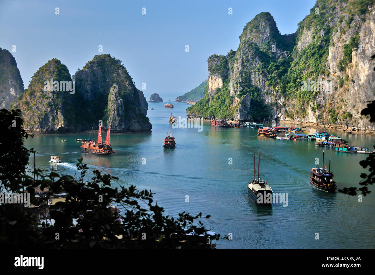 Boats And Junks In Halong Bay Karst Mountains In The Sea