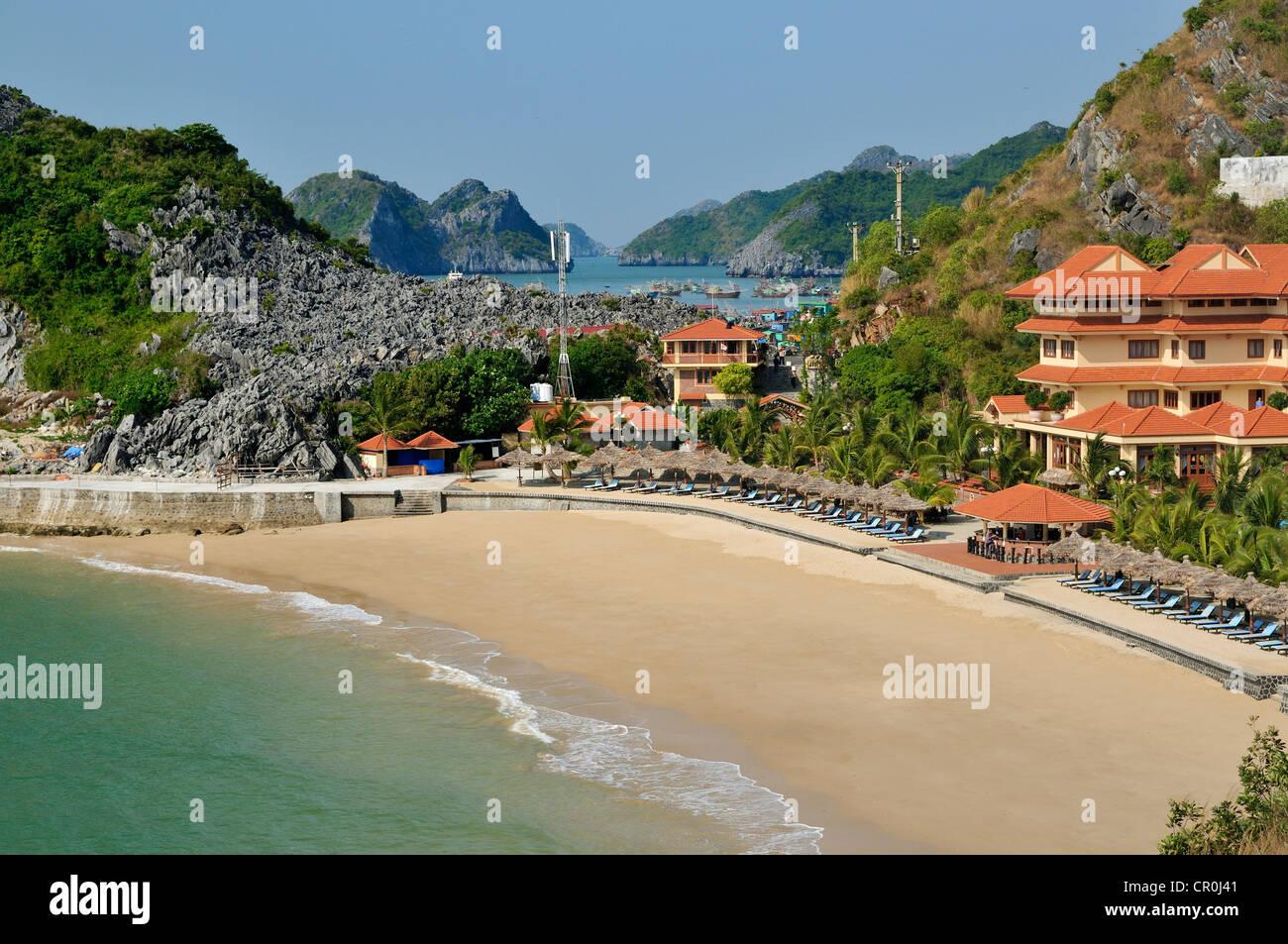 Beach With Cat Ba Hotel Halong Bay Vietnam Southeast Asia Asia Stock Photo Alamy