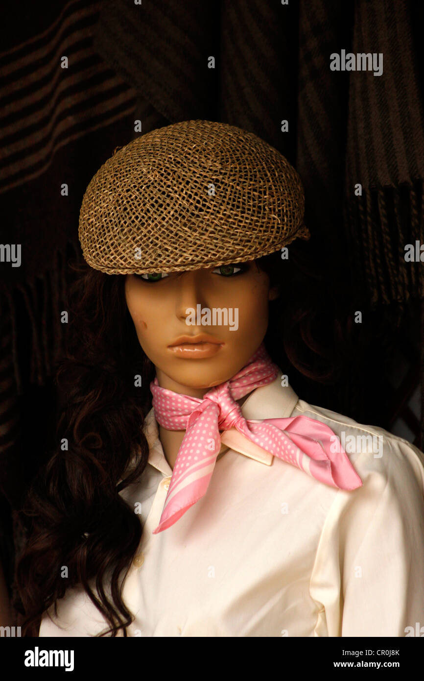 A mannequin wearing a typical Spanish cap and a neckerchief decorates a Flamenco dressing shop in El Rocío, - Stock Image