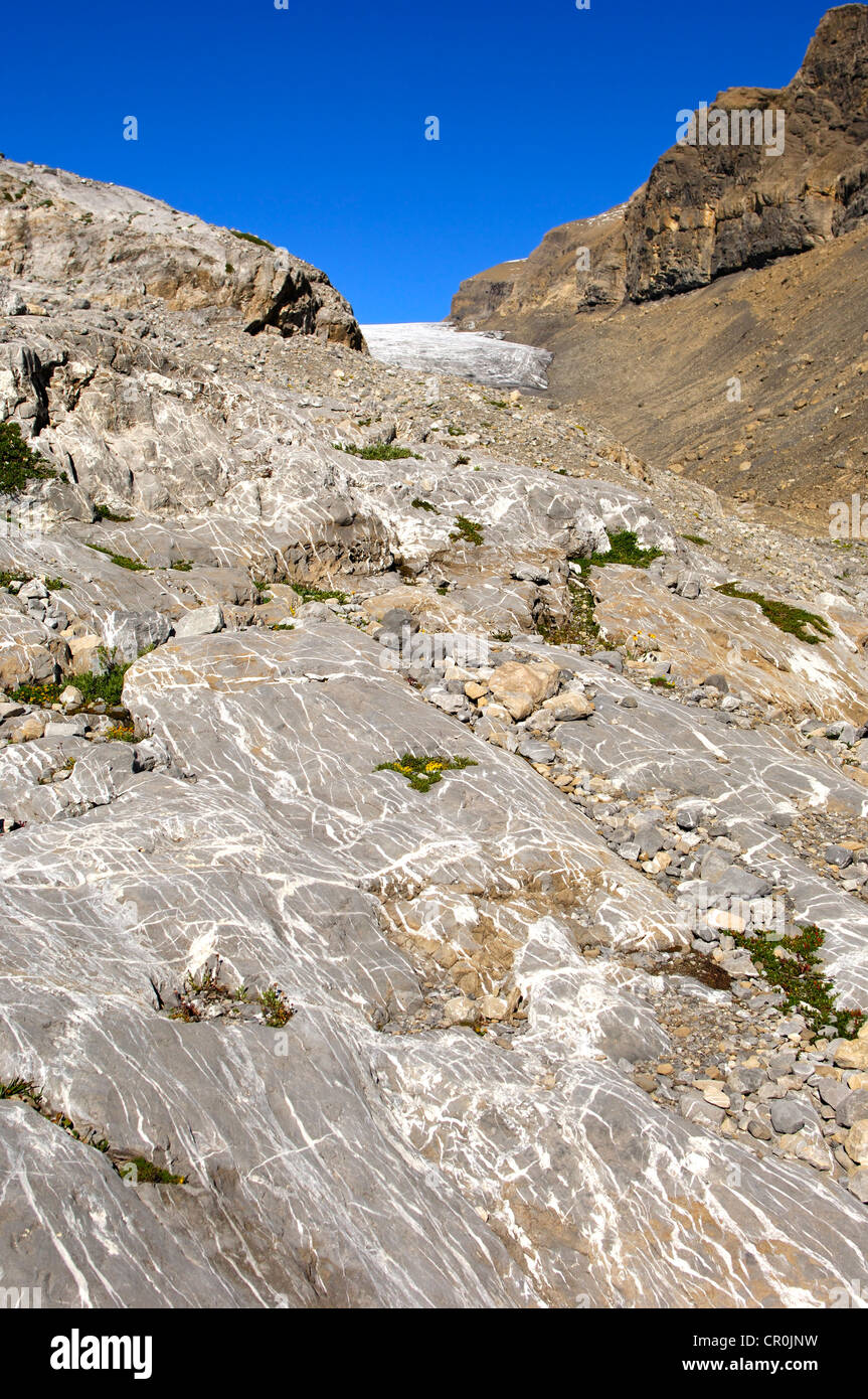 Bedrock polished smoothly by glacial ice below the Tsanfleuron Glacier, Valais, Switzerland, Europe - Stock Image