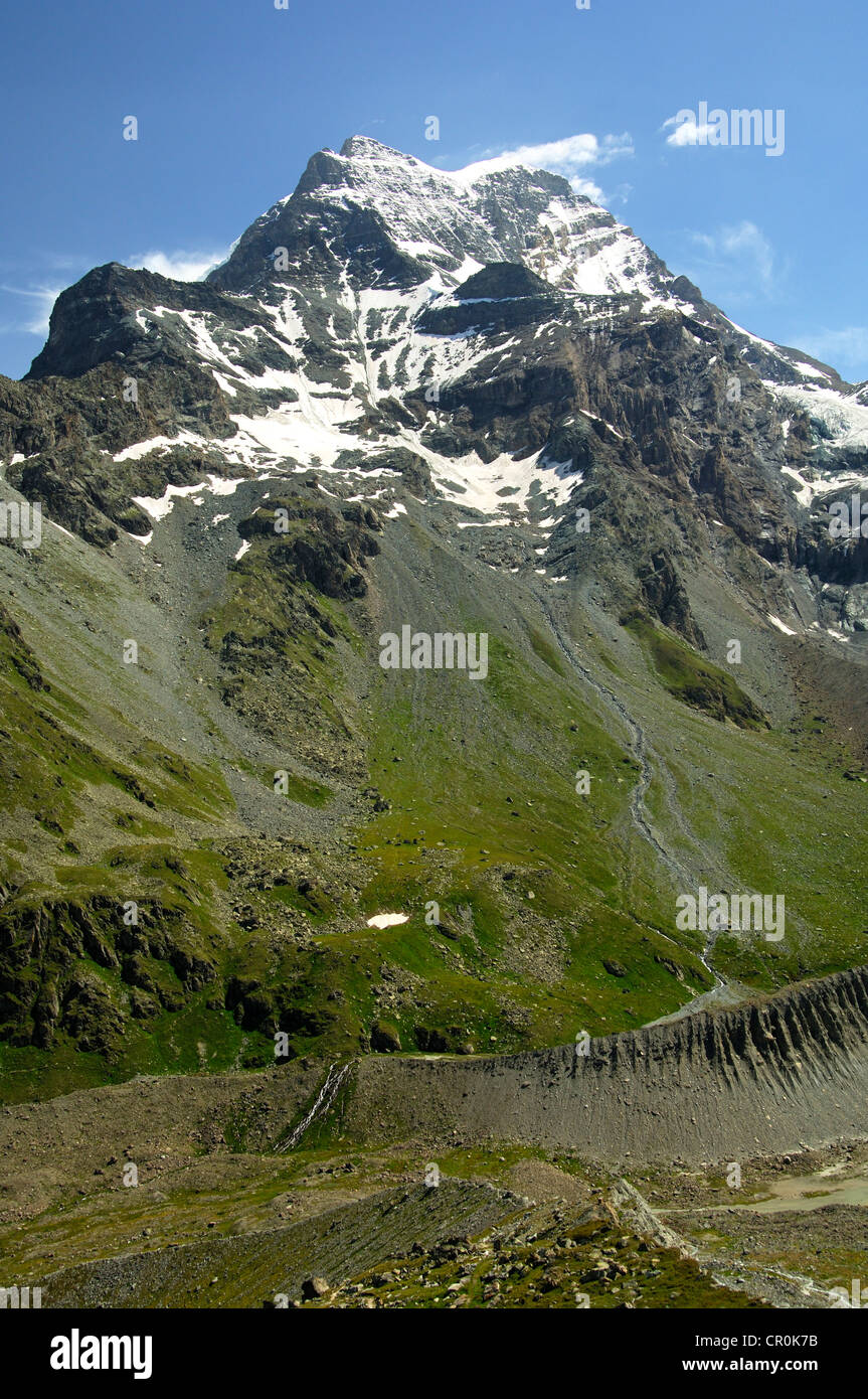 Grand Combin Mountain, view from the Val d'Entremont valley, Valais Alps, Valais, Switzerland, Europe - Stock Image