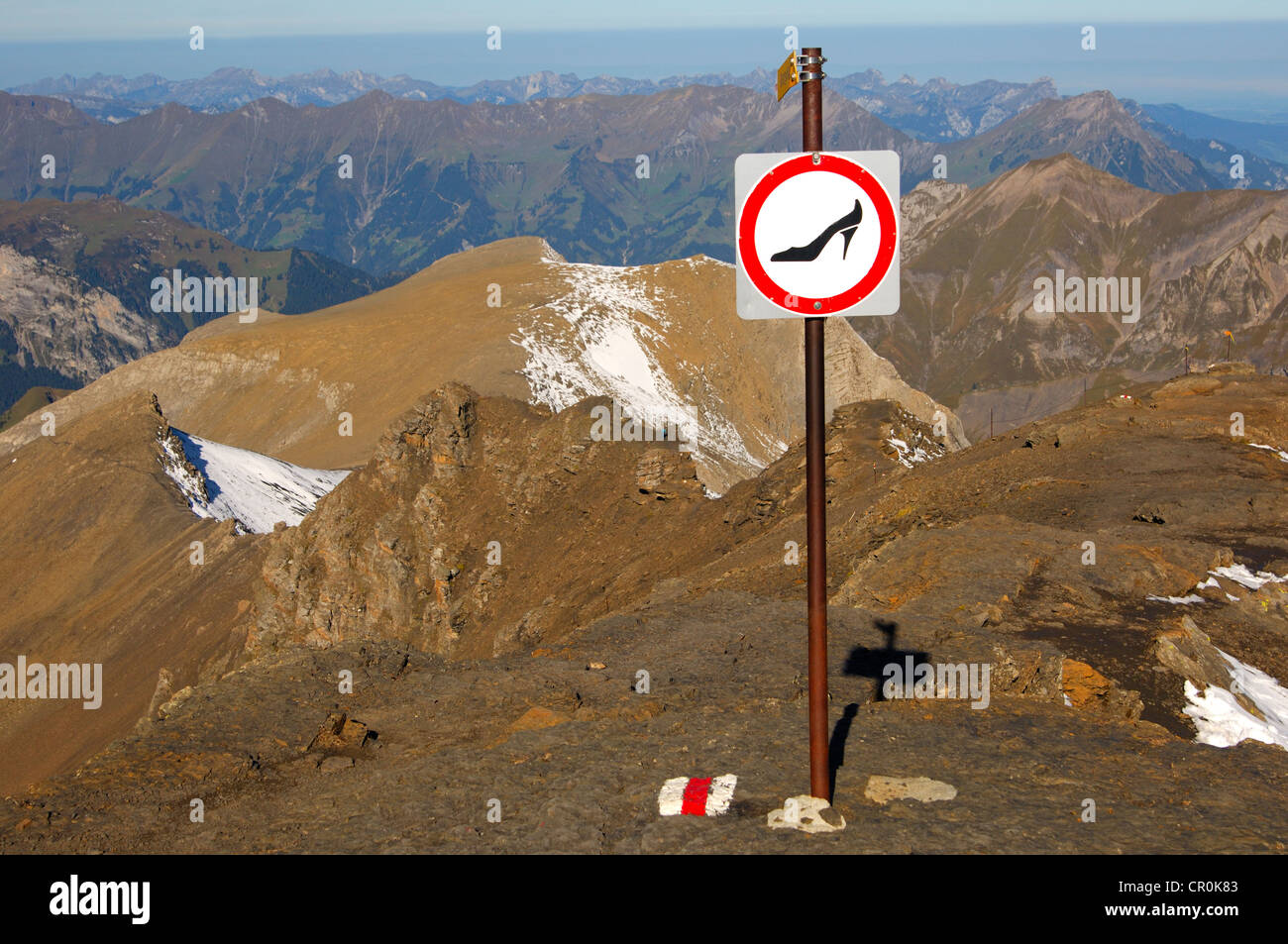 Prohibition sign for use of the mountain trail with unsuitable footwear on Schilthorn Mountain, , Switzerland, Europe - Stock Image
