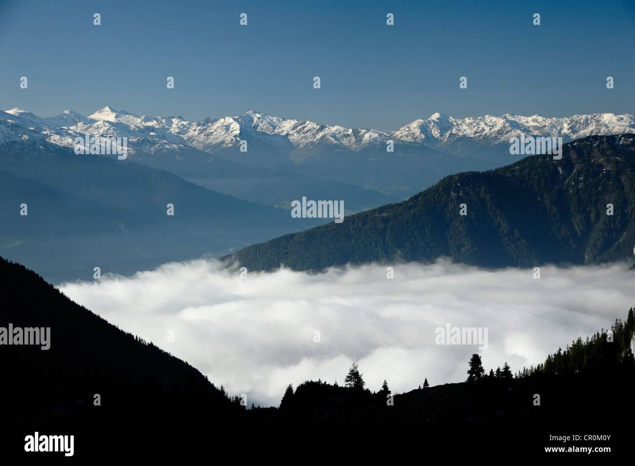View from Erfurt alpine hut in the Rofan mountains onto the Karwendel mountains, Austria, Europe - Stock Image