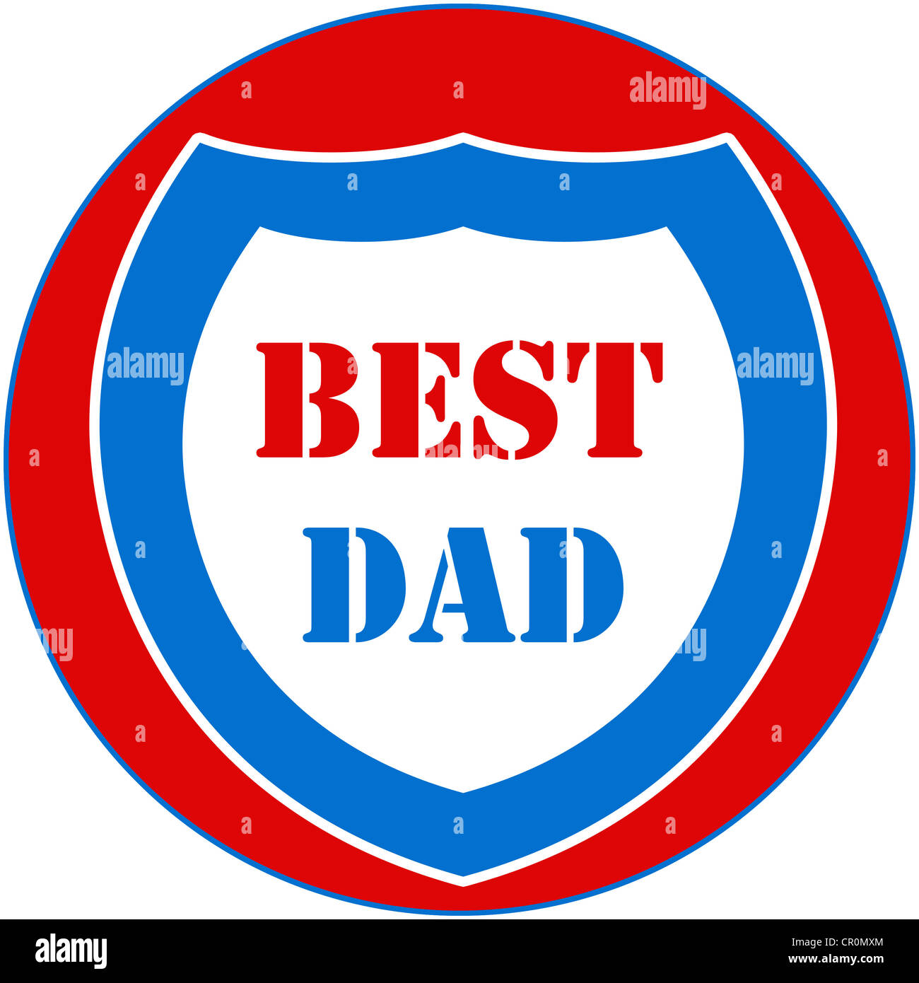 Best Dad medal in red, blue and white Stock Photo