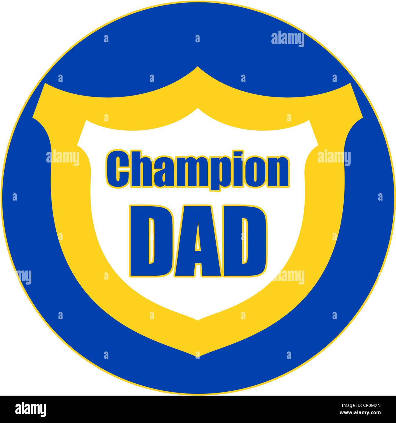 Champion Dad medal in blue, yellow and white Stock Photo