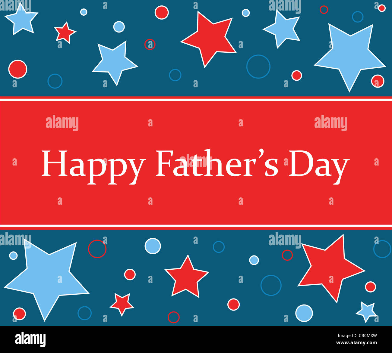 Happy Fathers Day wishes with celebration stars Stock Photo