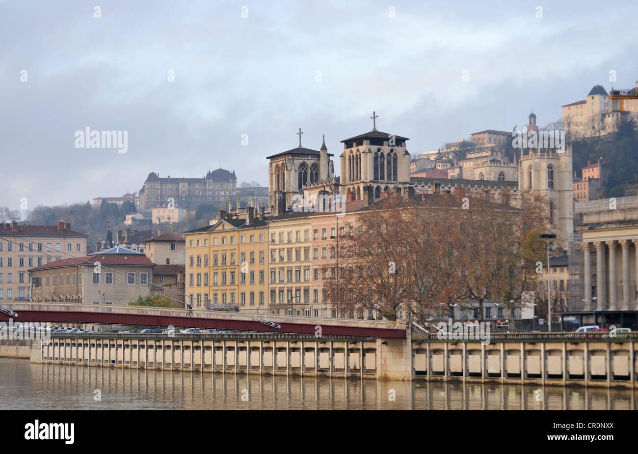 River bank, Lyon, France - Stock Image