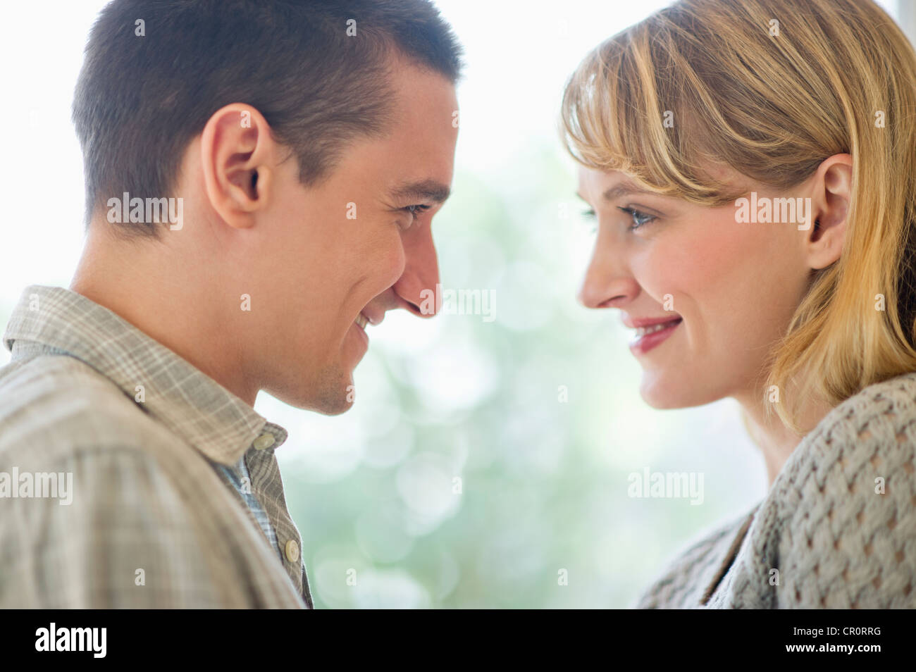 USA, New Jersey, Jersey City,  Close up of happy couple - Stock Image