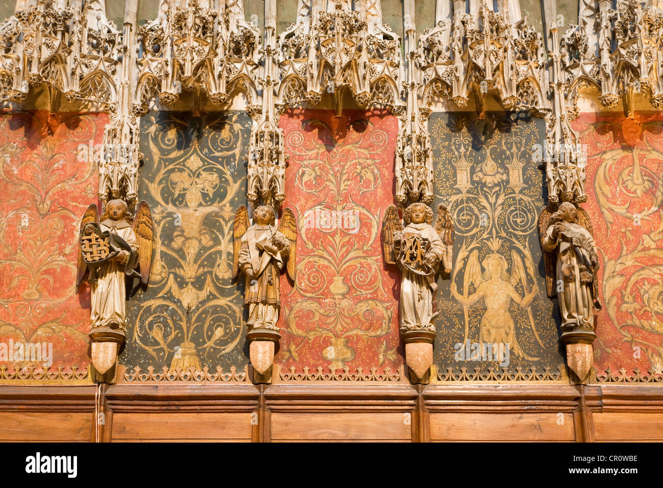 France Tarn Albi episcopal city listed as World Heritage by UNESCO sculptural detail of Stal of chancel of cathédrale - Stock Image