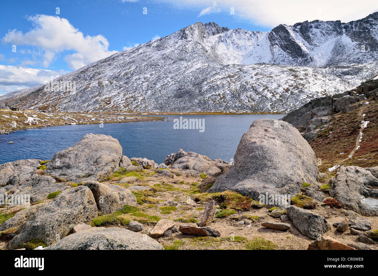 Summit Lake with Mount Evans, Mount Evans Wilderness Arapaho National Forest, Idaho Springs, Colorado, USA - Stock Image