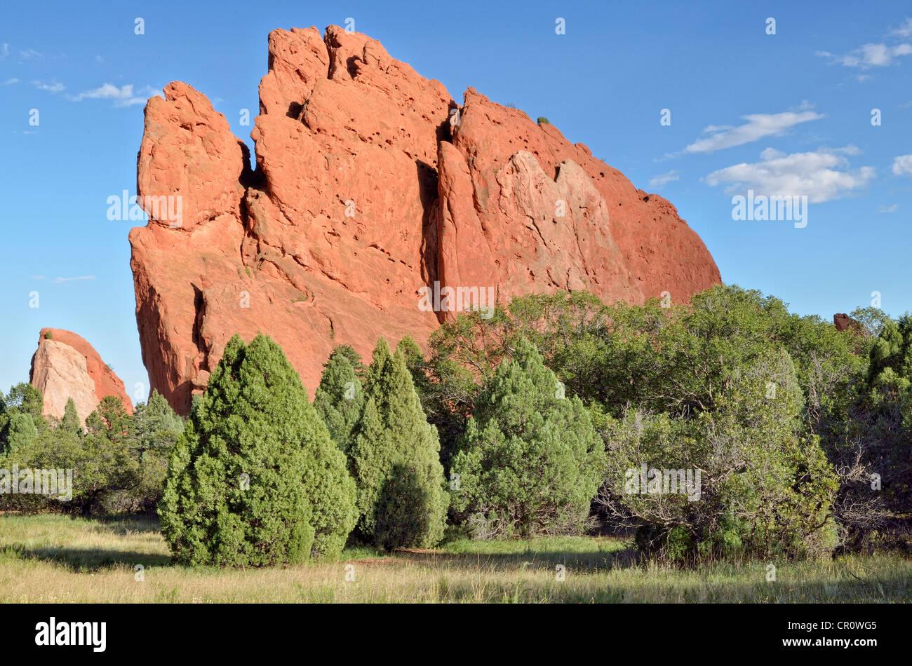 South Gate Rock, Garden of the Gods, red sandstone rocks, Colorado Springs, Colorado, USA - Stock Image