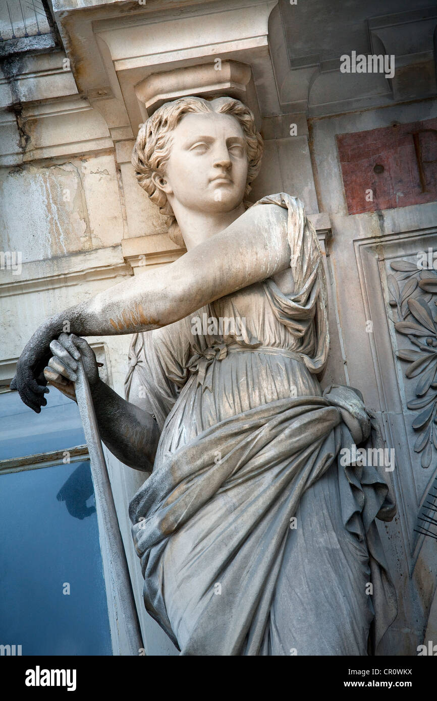 France, Paris, caryatid situated at entrance of passage du Bourg l'Abbe - Stock Image