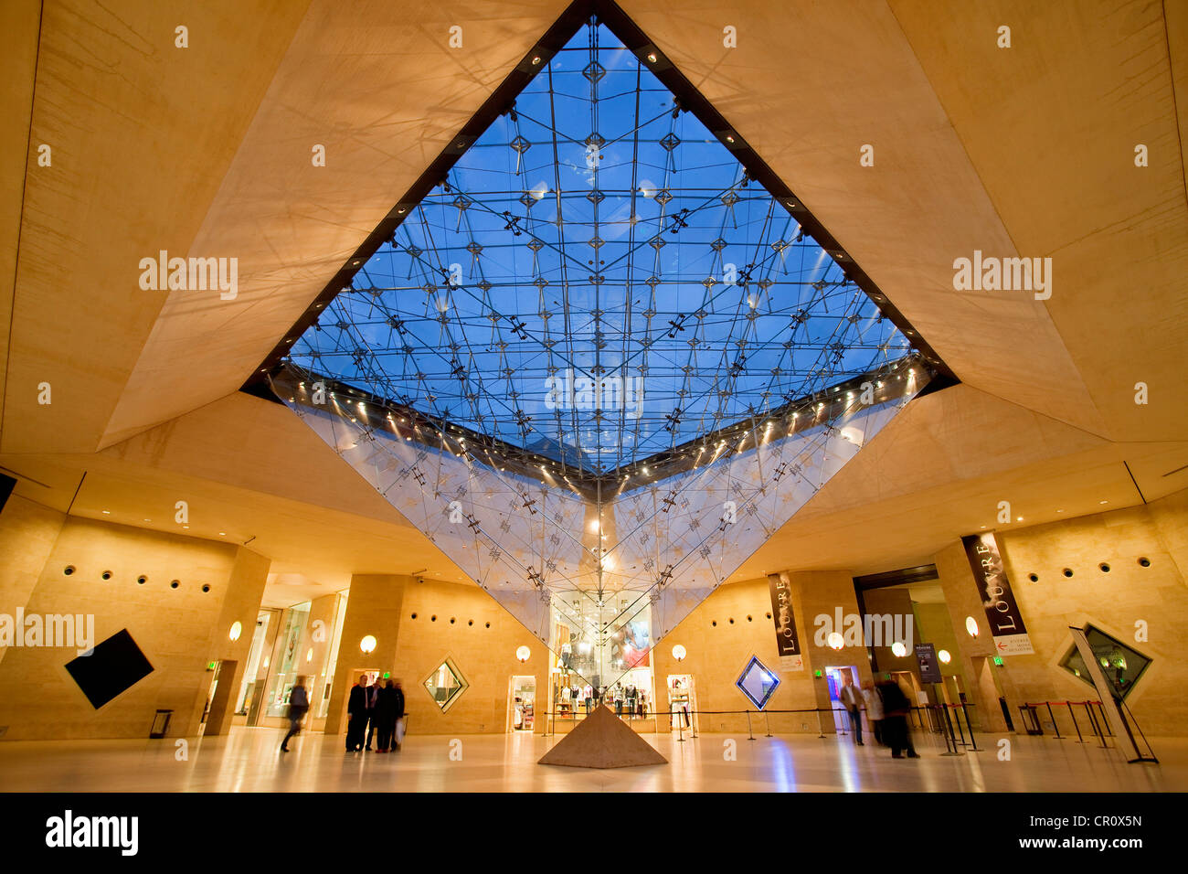 France, Paris, Carrousel du Louvre, inverted Pyramid by architect Ieoh Ming Pei - Stock Image