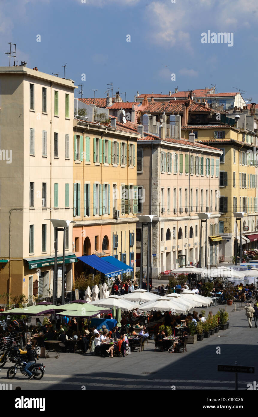 Outdoor Restaurants and Pavement Cafés in Town Square of Cours Estienne d'Orves Marseille Provence France - Stock Image